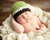Baby Boy Crochet Hat, Green, cream and brown