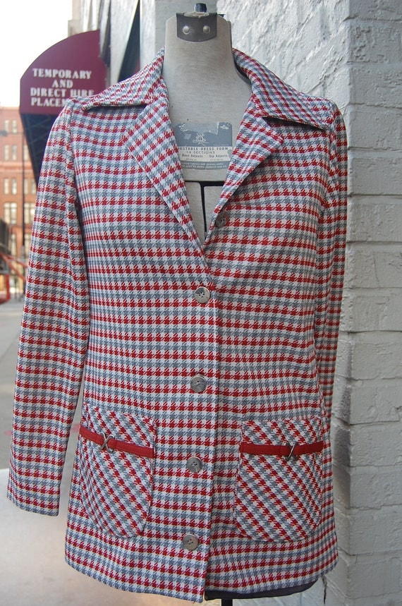 Vintage Plaid Blazer - Light Fall Coat - Outerwear - Fitted - Red Grey - Small Medium - 1960s