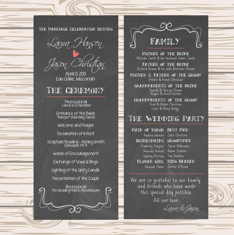 Wedding Program Chalkboard Wedding Rustic Wedding Barn