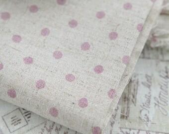 Cotton Linen From Paris Matching Pink Polkadot per Yard 27925