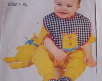 Sewing Pattern Appliqued Baby Bib//Stuffed Doll//Cow//Bunny//Cat//Slippers// Butterick 3522