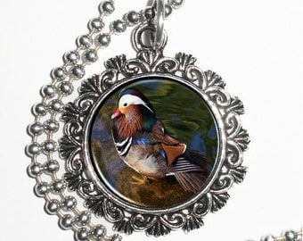 Mandarin Duck Photo Pendant, Bird Resin Pendant Charm Necklace, Photograpy Art by John Sullivan