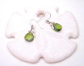 Olive green crystal dangle earrings