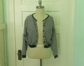 ESPRIT Early 90's Cropped Black and White Stripe Button up Oversized Cardigan Size Medium 100% Cotton
