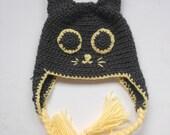 Crochet hat pattern, cat hat pattern, Halloween pattern, animal hat pattern, Black cat earflap hat - newborn to adult, Pattern No. 36