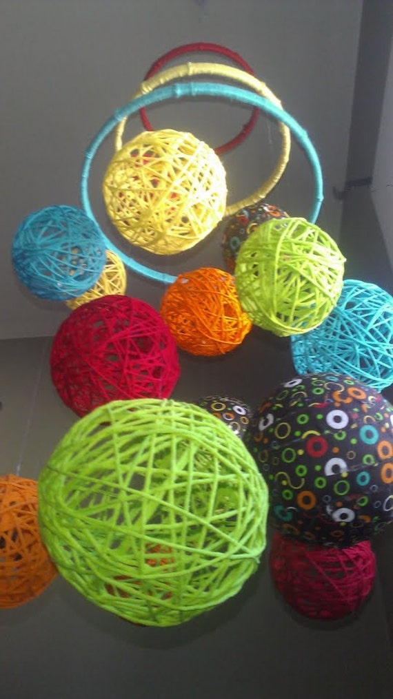 Multi-Color Yarn & Fabric Ball Baby Mobile