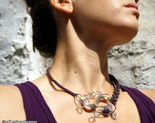 macrame and wire wrapped mix necklace with amethyst and crystal quartz