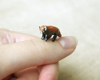 Miniature Red Panda, polymer clay sculpture, Made to order