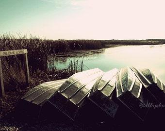 Hidden Shore - Landscape Photography Print, Nature Travel Water Fishing Boats Summer Home Decor Wall Art 4x6, 6x9, 8x12