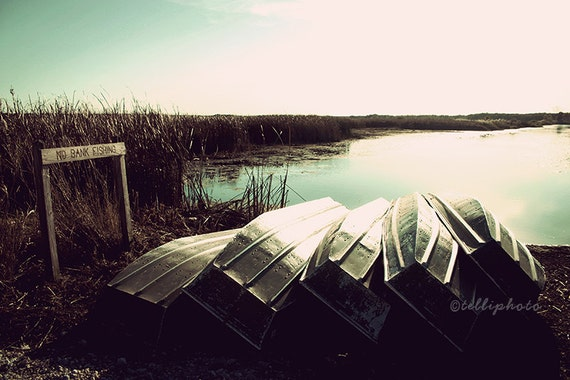 Hidden Shore - Landscape Photography Print, Nature Travel Water Fishing Boats Summer Home Decor Wall Art 4x6, 6x9, 8x12