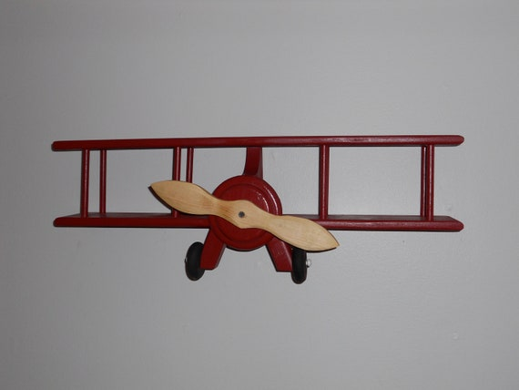 Large Wooden Airplane Wall Hanger Shelf