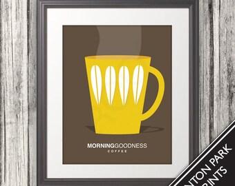 Coffee, Coffee Cup Print, Coffee Art, Coffee Poster, Mid Century Art, Retro, Morning Goodness Coffee - 11x14