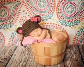 Baby girl bear hat, newborn photography prop hat, pink and brown, crochet knit hand made hat beanie