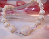 Faux pearl necklace made  with beads crafted from handmade paper