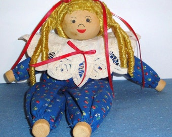 Clothespin Doll - Vintage - Handmade - Lace - Collectibles - Home Decor - Dolls - Toys - Blonde - Blue Gingham