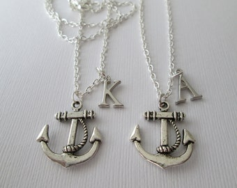 Friendship Gift, 2 Anchor Initial Necklaces/ Wedding Gift, mother daughter necklace, friendship gift, mother daughter gift,