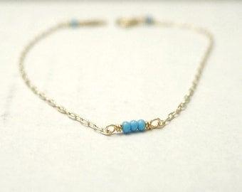Thin bar bracelet - sky blue beads on gold filled - minimal dainty