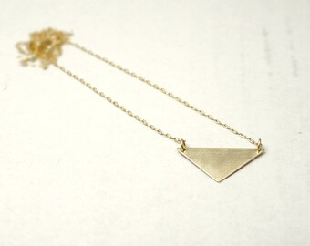 Gold triangle necklace - brass and gold filled - minimal geometric jewelry