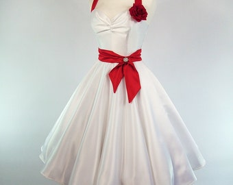 Made To Measure Red And White Duchess Satin Full Circle Skirt Wedding Dress - Detachable Straps & Belt