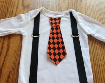 Halloween Argyle Tie and Suspenders Onesie or shirt