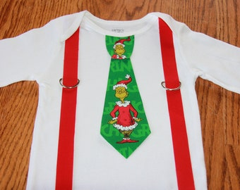 The Grinch  Tie and Suspenders Onesie or shirt