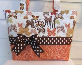 Brown / Orange Butterflies Quilted Purse / Tote / Diaper Bag