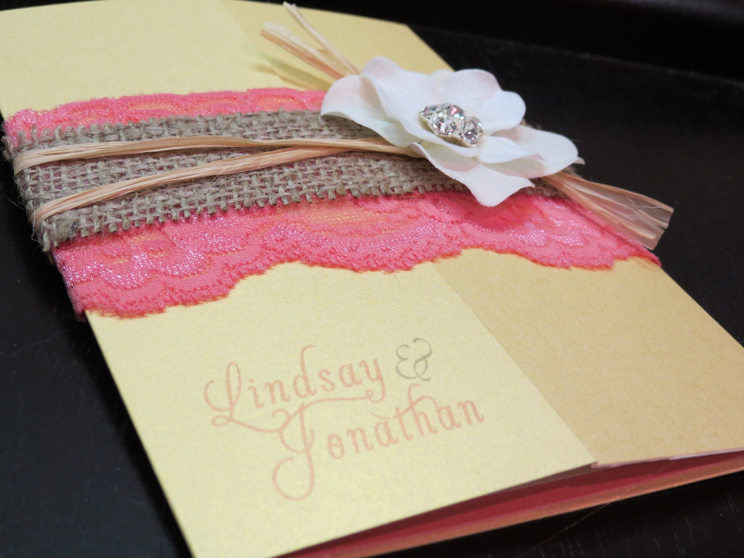 Lace Wedding Invitation: Burlap Lace Gate Fold Wedding Invitation Customizable
