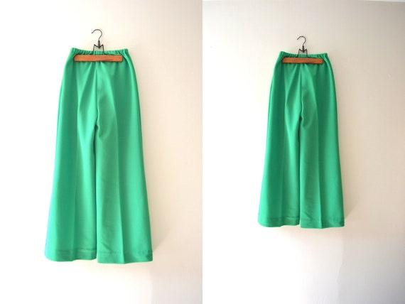 wide leg pants / 60s green pants / vintage 1960s pants