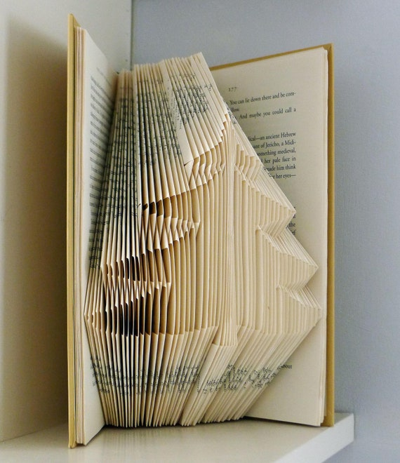 Items similar to tree folded book art unique handmade for Decoration books