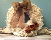 Cream Burlap Wreath with Leather Roses