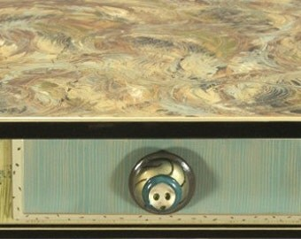 Sofa Table-Turned Legs: Blue-Green-Susan Goldstick Knob, Custom Made-To-Order