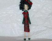 Hipster Hilda-Custom Cupie Folk Art Pin Brooch