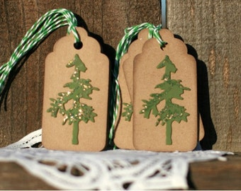 Christmas Gift Tags - Set of 8 Holiday gift tags with twine - Tree