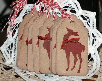 Christmas Gift Tags - Set of 8 Holiday gift tags with twine - Reindeer