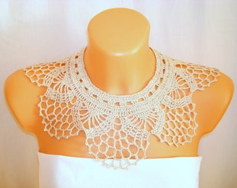 Crochet Lace COLLAR, detachable ecru beige collar, Elegant textile neck Cuff, Peter Pan collar, Victorian collar, Ready to ship