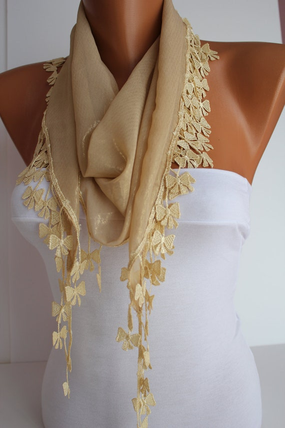 Gold Scarf Shawl Headband - Cowl with Lace Edge