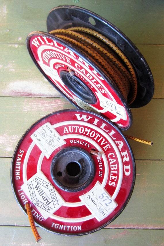 Vintage, Metal Spools 1950s Automotive Wiring, Set of Two, Metal Art, Willards Made in USA Rustic Advertising