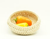 Crocheted cotton basket. Crocheted bowl. Small basket. Natural color. Neutral