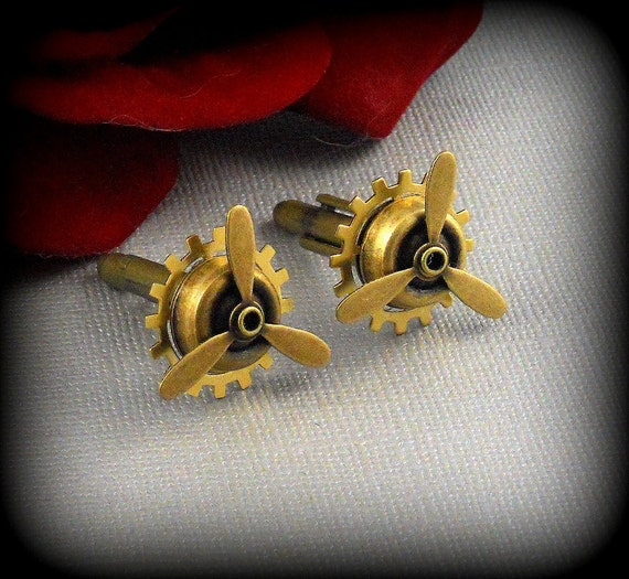 Cufflinks, Cufflink, Cuff links, Vintage Inspired, Weddings, Airplane Propeller Cuff Links, Wedding, Groom, Brother, Dad