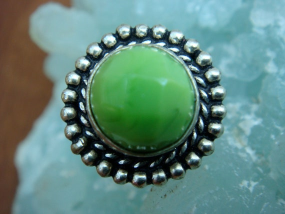 Silver ring with Green Turquoise 925 size 8