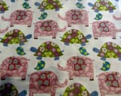 Cotton Flannel fabric, Pink elephants and green turtles.  Craft project, sewing project, 1/2yd.