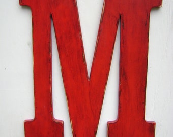 letter M wedding decor shabby chic rustic 24 inch big wooden letters,home,cottage,cabin,baby nursey decor
