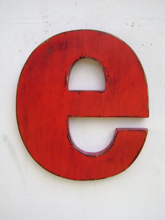 """Wooden letters shabby chic decor rustic lower case """"e"""" lightly distressed,cabin,home cottage wall hanging decor"""