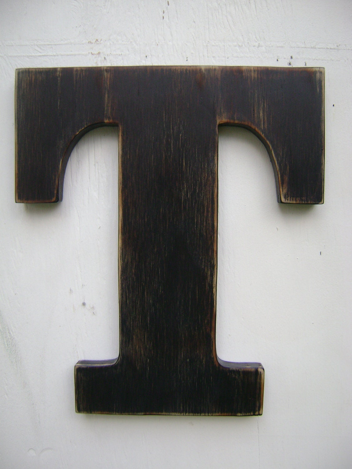 Rustic Letters Wall Decor : Wood letter rustic wall hanging initals t