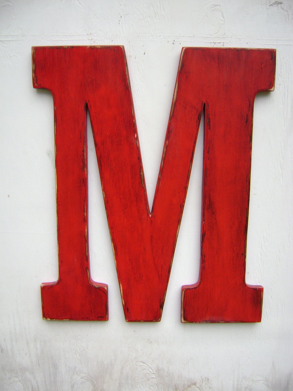 Letter M Wedding Decor Shabby Chic Rustic 24 Inch Big Wooden