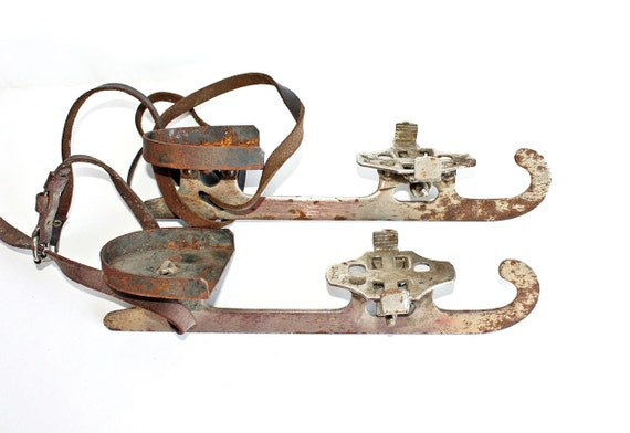 Vintage Ice Skates from Russia Soviet Union era, metal steel ice skates