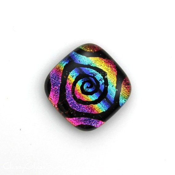 Rainbow Dichroic Glass Pendant Cabochon with Hand Drawn Swirl