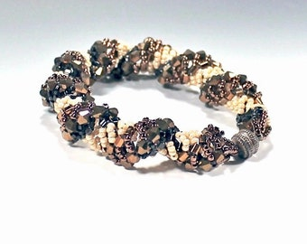 Dutch Spiral Chocolate Brown, Black, and Cream Glass and Seed Bead Bracelet