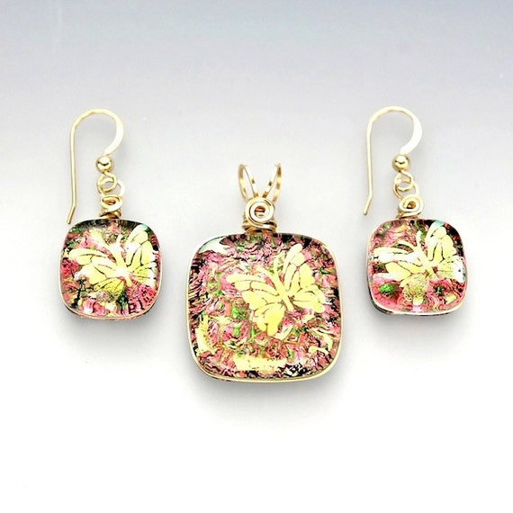 Wire Wrapped Dichroic Glass Set, Pink and Green with Gold Butterflies