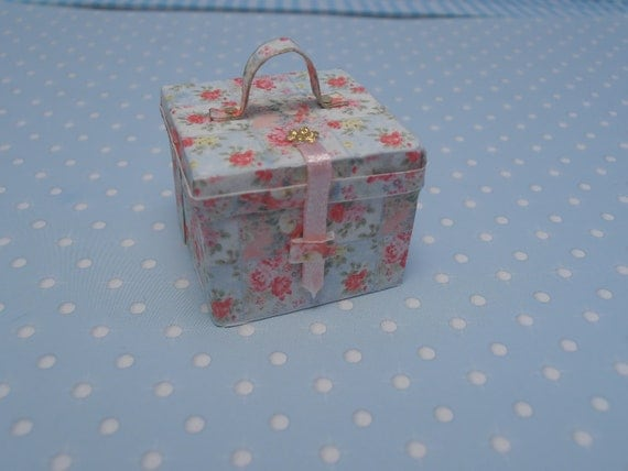 Miniature Romantic luggage C - shabby chic suitcase No open